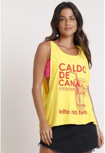 Regata Feminina Cavada Caldo De Cana Decote Redondo Amarela