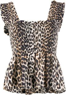 Ganni Blusa Com Estampa De Leopardo - Neutro