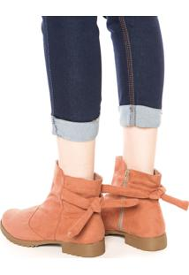 Bota Dafiti Shoes Amarração Laranja