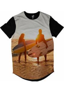 Camiseta Longline Long Beach Lb Casal Sublimada Masculina - Masculino-Amarelo