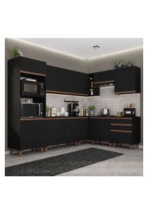 Cozinha Completa De Canto Madesa Reims 462001 Com Armário E Balcáo - Preto Preto