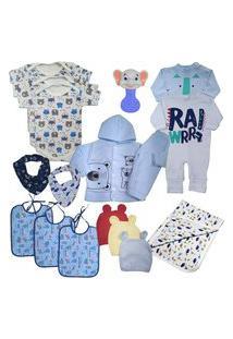 Kit 15Pç Roupinha De Bebê Masculino Feminino Barato Enxoval Azul
