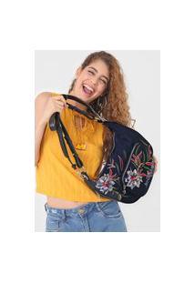 Bolsa Desigual Shoulder Bag Flower Se Azul-Marinho