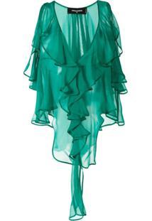 Dsquared2 Blusa De Chiffon Com Acabamento De Babado - Verde