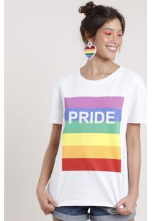 """Blusa Feminina Carnaval Arco-Íris """"Pride"""" Manga Curta Decote Redondo Branca"""