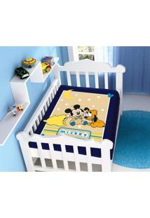 Cobertor Infantil Disney Mickey Soninho Azul Marinho Jolitex