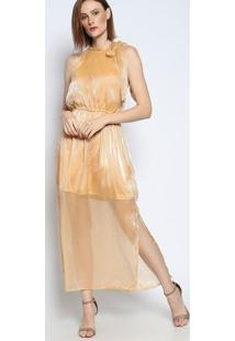 Vestido Longo Com Transparência- Dourado- Bhlbhl