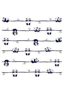 Papel De Parede Ursinho Panda Preto E Branco 57X270Cm