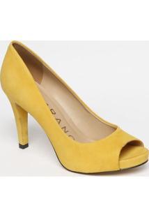 Peep Toe Em Couro Com Recortes Vazados- Amarelo- Salcarrano