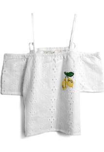 Blusa Fruteira 3 Menina Lisa Branca