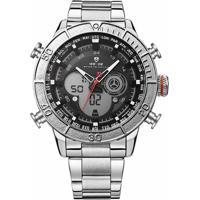 7ca1917e39 Relógio Masculino Weide Anadigi Wh-6308 - Masculino-Prata