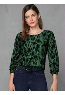 Blusa Verde Escuro Com Estampa Em Rapport