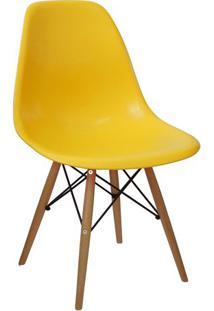 Cadeira Eames Dkr- Amarela & Madeira Clara- 80,5X46,Or Design