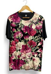 Camiseta Bsc Vintage Dark Flower Full Print - Masculino-Preto