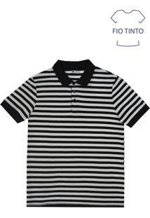 Camisa Polo Masculina Básica Em Malha De Algodão E Fio Tinto