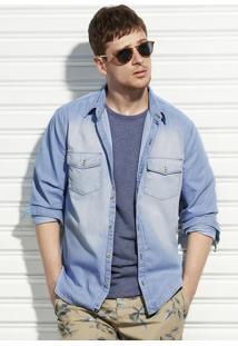Camisa Jeans Masculina Manga Longa Em Algodão