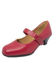 Sapato Social Boneca Fechado Salto Baixo Confort Vermelho