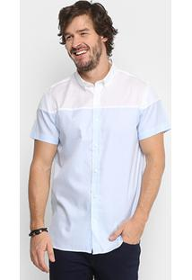 Camisa Calvin Klein Bicolor Detalhe Barra Masculina - Masculino