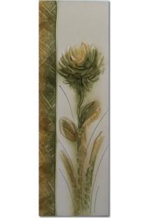 Quadro Artesanal Com Textura Crisantemo Verde 20X60 Uniart