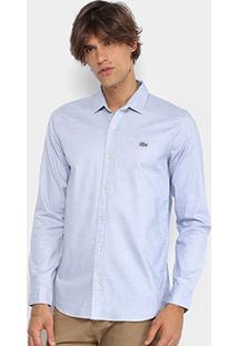 Camisa Lacoste Maquinetada Poá Slim Fit Masculina - Masculino-Azul Claro