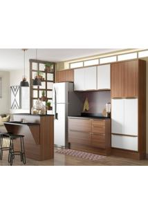 Cozinha Completa Com Bancada E Balcão Com Tampo E Rodapés 8 Peças 13 Portas Calábria Multimóveis Nogueira/Branco