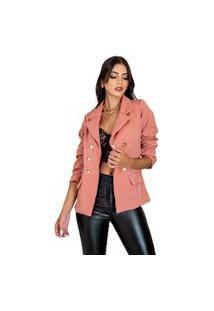 Blazer Alongado Feminino Max Acinturado Cores 2021 Ref 777 Tipo Balmain Rosa Colorido Salmão
