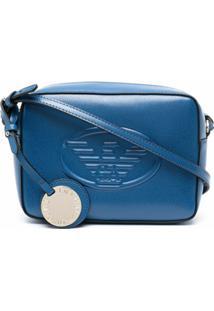Emporio Armani Embossed-Logo Cross Body Bag - Azul