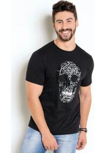 Camiseta Com Estampa Caveira De Onça Flocado