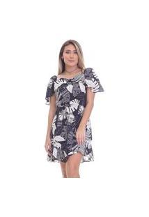 Vestido Clara Aruda Curto Decote Babado 50405 Floral