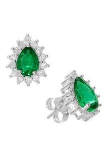Brinco Gota Verde Esmeralda De Prata Rodinada - Unissex-Prata