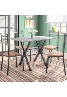 Conjunto De Mesa Miame Com 4 Cadeiras Lisboa Preto E Nature