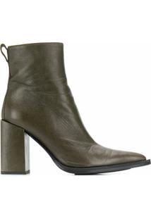 Ami Paris Ankle Boot Com Salto Bloco - Verde