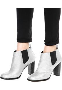 Bota Chelsea Dafiti Shoes Glitter Prata