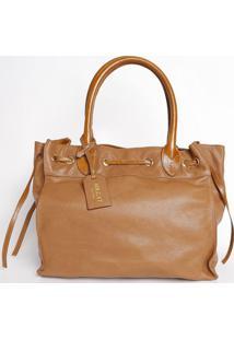 Bolsa Em Couro Com Bag Charm - Caramelo- 29X31X19Cmmr. Cat