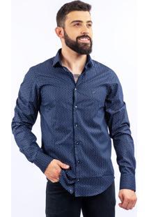 Camisa Lupim Slim Fit Losangos Marinho