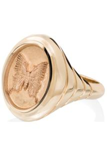 Retrouvai Anel Grandfather Butterfly Signet De Ouro 14K - Gold