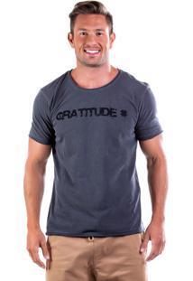 Camiseta Four Gratitude Gola Corte A Fio - Chumbo
