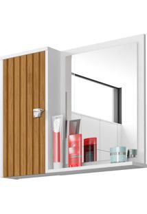 Espelheira Para Banheiro Gênova 1 Porta Branco/Ripado Móveis Bechara
