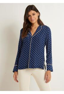 Camisa Le Lis Blanc Sleepers Seda Estampado Feminina (Parafuso Print Blue Random, 46)