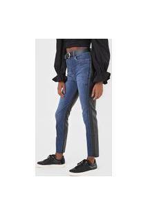 Calça Jeans Lança Perfume Skinny Resinada Azul/Preto