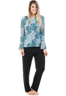 Pijama Longo De Liganete Com Blusa Flare Dulmar - Feminino-Preto+Azul