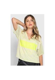 Blusa Cropped My Favorite Thing(S) Onça Neon Verde/Bege