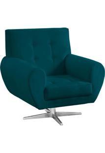 Poltrona Decorativa Beluno Suede Azul Pavão Base Estrela Aço Cromado - D'Rossi