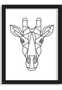 Quadro Decorativo Line Drawing Girafa Preto - Grande