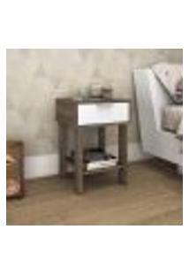 Mesa De Cabeceira Com 1 Gaveta E Tomada - Rústico/Branco