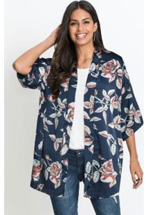 Kimono Acetinado Estampado Floral Marinho