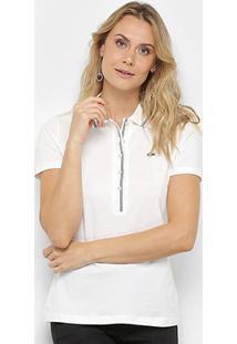 Camisa Polo Lacoste Gola Listrada Botões Feminina - Feminino-Branco