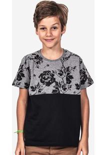 Camiseta Meio A Meio Eco Preto Floral Niños 500006