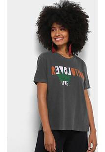 Camiseta Cantão Local Revolution Love Feminina - Feminino-Cinza Claro