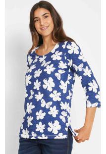 Blusa Estampada Mangas 7/8 Com Fenda Floral Azul